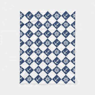 Nautical blue white checkered fleece blanket