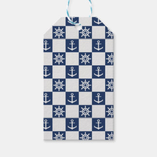 Nautical blue white checkered gift tags
