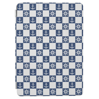 Nautical blue white checkered iPad air cover