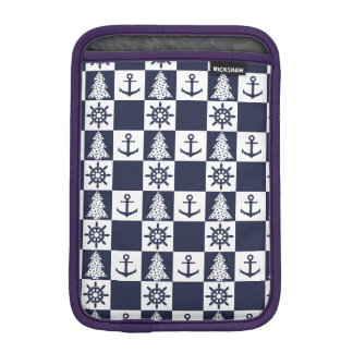 Nautical blue white checkered iPad mini sleeve