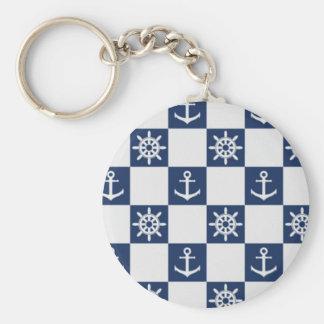 Nautical blue white checkered keychain