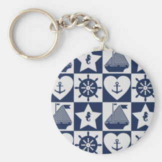 Nautical blue white checkered keychain
