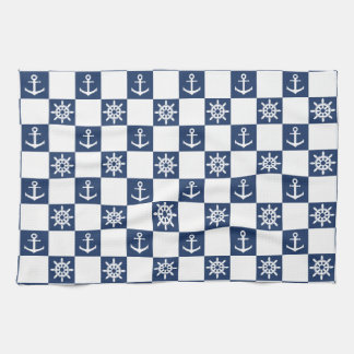 Nautical blue white checkered kitchen towel