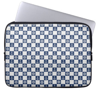 Nautical blue white checkered laptop computer sleeves