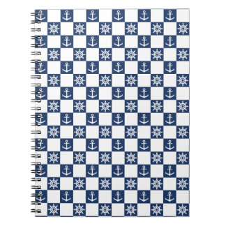 Nautical blue white checkered notebook
