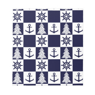 Nautical blue white checkered notepad
