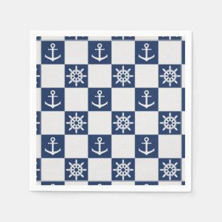 Nautical blue white checkered paper napkins