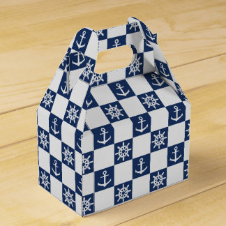 Nautical blue white checkered party favor box