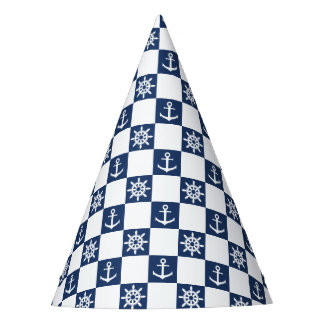 Nautical blue white checkered party hat