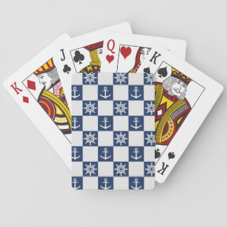 Nautical blue white checkered playing cards