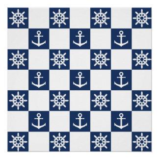 Nautical blue white checkered poster