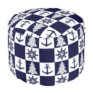 Nautical blue white checkered pouf
