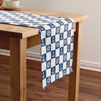 Nautical blue white checkered short table runner