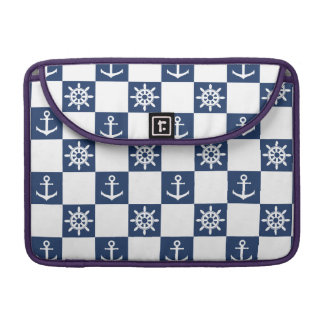 Nautical blue white checkered sleeve for MacBook pro