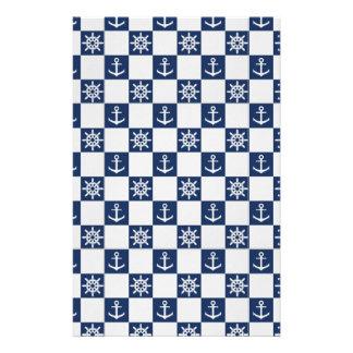 Nautical blue white checkered stationery