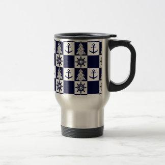 Nautical blue white checkered travel mug