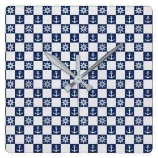 Nautical blue white checkered wall clock