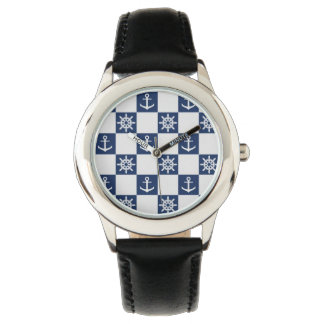 Nautical blue white checkered watch