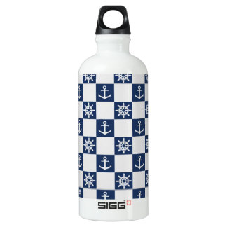 Nautical blue white checkered water bottle