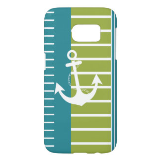 Nautical Blue White Green Stripe Design Samsung Galaxy S7 Case