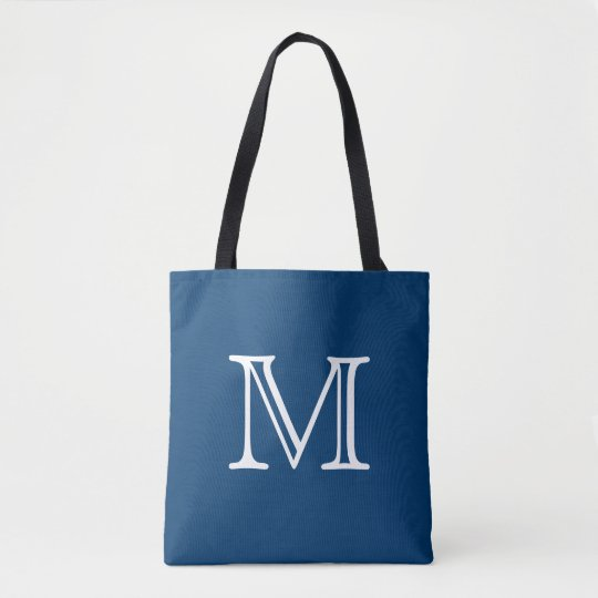 Nautical Blue White Monogram Tote Bag