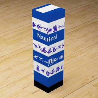 Nautical blue white monogrammed wine gift boxes