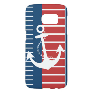 Nautical Blue White Red Stripe Design Samsung Galaxy S7 Case