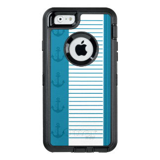 Nautical Blue White Stripe Anchor Design OtterBox iPhone 6/6s Case