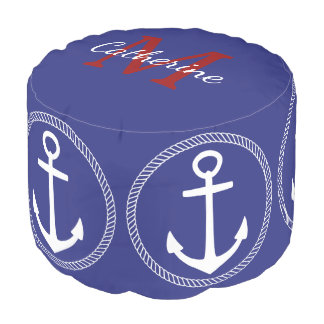 Nautical Blue With White Anchor Monogram Pouf
