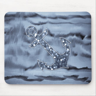 Nautical Bluish Gray Watercolor Glitter Anchor Mouse Pad