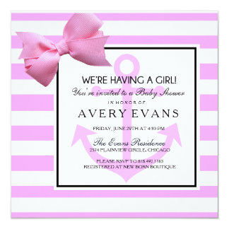 """Nautical Blush Pink Anchor It's a Girl Baby Shower 5.25"""" Square Invitation Card"""