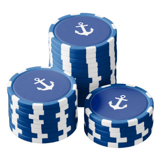 Nautical Boat Anchor Blue Striped Poker Chips