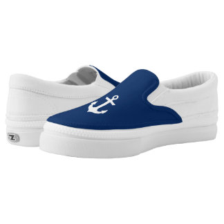 Nautical Boat Anchor Navy Blue Slip-On Sneakers