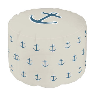 Nautical Boat Anchor Pillow Pouf Ottoman Seat