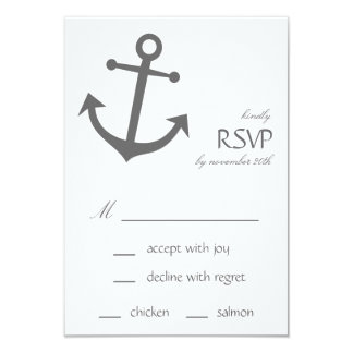 Nautical Boat Anchor RSVP Cards (Dark Gray) Personalized Invitations