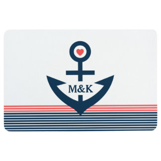 Nautical Boat Anchor & Stripes In Blue & Coral Red Floor Mat