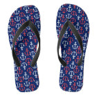 Nautical Boat Anchors In White & Coral-Red Flip Flops