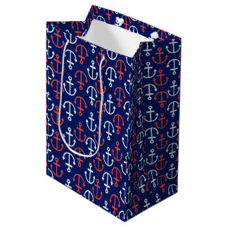 Nautical Boat Anchors Pattern-White & Coral Red Medium Gift Bag