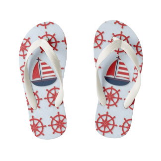 NAUTICAL BOAT AND RED SHIP WHEEL KID'S FLIP FLOPS