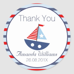 Nautical Boat Baby Shower Favour Sticker