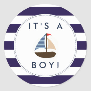 Set of Vinyl Decals Sail Boat Decals Decals Envelope Seals Stickers Baby Shower Party Favors Boy Birthday Transportation Boat Party