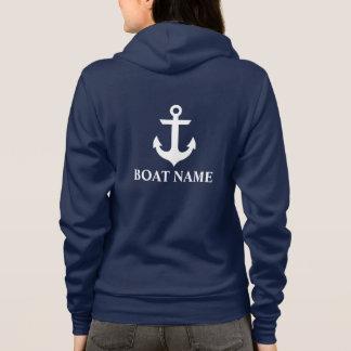 Nautical Boat Name Anchor Blue W Hoodie
