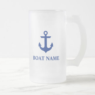 Nautical Boat Name Anchor Frosted Glass Beer Mug