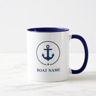 Nautical Boat Name Anchor Rope Blue Mug