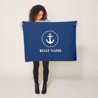 Nautical Boat Name Anchor Rope Navy Blue Fleece Blanket