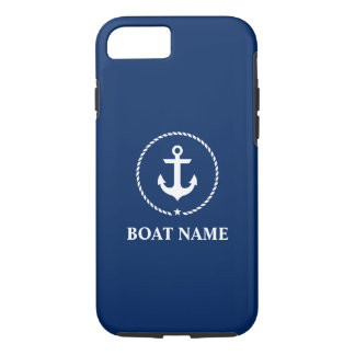 Nautical Boat Name Anchor Rope Navy Blue iPhone 8/7 Case