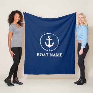 Nautical Boat Name Anchor Rope Navy Blue Medium Fleece Blanket
