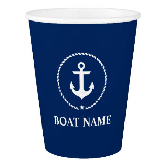 Nautical Boat Name Anchor Rope Navy Blue Paper Cup