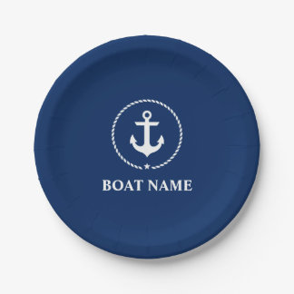 Nautical Boat Name Anchor Rope Navy Blue Paper Plate