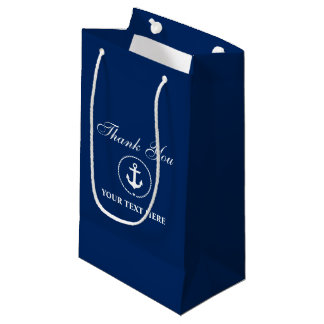 Nautical Boat Name Anchor Rope Navy Blue Small Gift Bag